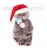 Игрушка мягкая Басик  в колпаке со снеговичком