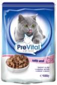 Влажный корм для кошек PREVITAL CLASSIC телятина в соусе, 100 гр.