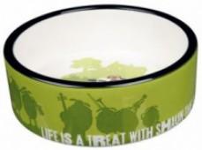 Миска для кошек TRIXIE Shaun керамическая, зеленая, 300 мл.