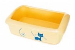 Туалет для кошек прямоугольный с рисунком, с бортиком 41*30*13 см.