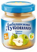 Пюре Бабушкино лукошко в баночке яблоко-груша с 4 месяцев, 100 г, 1 шт.