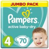 Подгузники Pampers Active Baby-Dry Размер 4 (Maxi), 70 шт, 9-14 кг.
