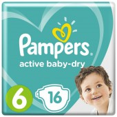 Подгузники Pampers Active Baby Dry 6 Extra Large, от 15 кг.