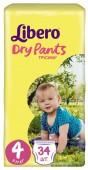 Трусики-подгузники Libero Dry Pants Size 4, 34 шт, 7-11 кг.