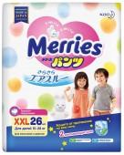 Подгузники-трусики Merries ночные XXL, 26 шт, 15-28 кг.